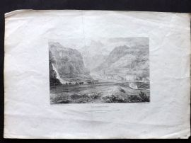 Cockburn 1822 Antique Print. Lanslebourgh, Lanslebourg-Mont-Cenis, France Alps